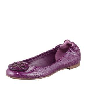 Tory Burch Reva Crocodile-Embossed Patent Ballet Flat Sweet Plum size 7